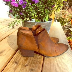 Franco Sarto Burnished Brown Leather Ankle Booties
